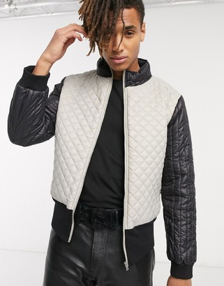 One Above Another funnel neck quilted jacket in gray