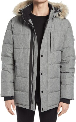 Noize Quilted Parka with Removable Faux Fur Trimmed Hood