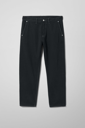 Weekday Barrel Relaxed Cropped Tapered Jeans - Black