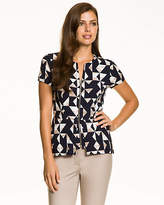 Le Château Geo Print Rayon Blend Zip-Front Top