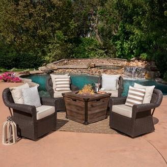 Soraya Gracie Oaks 5 Piece Rattan Conversation Set with Cushions Gracie Oaks