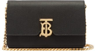 Burberry Carrie Tb-monogram Leather Cross-body Bag - Black