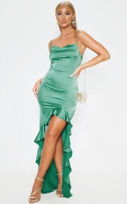 Pure Emerald Green Cowl Neck Frill Hem Maxi Dress
