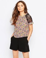 Girls On Film Floral Crop Top With Lace Inserts