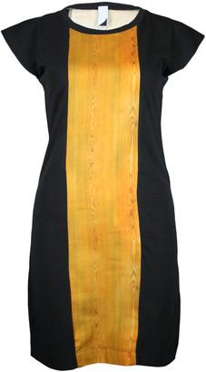 Format PLUM Black Wood Single Plain Dress - XS - Black/Yellow/Gold
