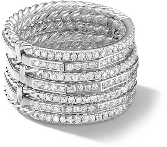 David Yurman 18kt White Gold Diamond Stackable Ring