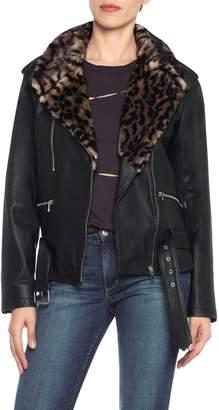Joe's Jeans Riley Lamb Leather & Faux Fur Collar Jacket