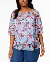 NY Collection Plus Size Layered Floral-Print Top