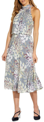 Adrianna Papell Watercolor Floral Midi Dress Dusty