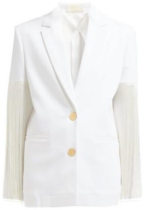 Sara Battaglia Fringed Single-breasted Cotton-blend Blazer - Womens - White