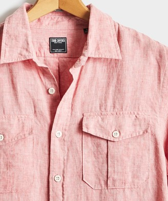 Todd Snyder Italian Two Pocket Linen Utility Long Sleeve Shirt in Red