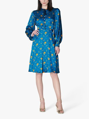 LK Bennett Maddux Silk Floral Print Knee Length Dress, Teal