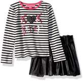 Betsey Johnson Little Girls' 2 Pc Laser Cut Pleather Skirt Set
