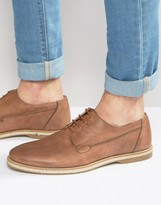 Asos Derby Shoes In Washed Tan Leather With Jute Wrap Sole