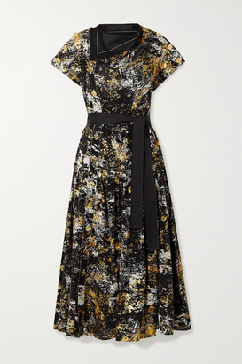 Proenza Schouler Layered Belted Metallic Printed Silk Midi Dress - Black
