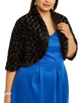 Robbie Bee Plus Size Textured Faux Fur Shrug