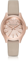 Karl Lagerfeld Janelle Rose Gold-tone PVD Stainless Steel Women's Quartz Watch w/Dove Leather Strap
