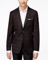 DKNY Men's Slim-Fit Dark Brown Windowpane Sport Coat