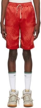 Gucci Red Bi-Material Print Shorts