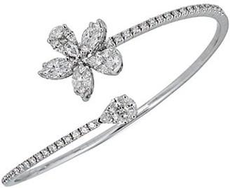 Zydo Mosaic 18K White Gold Diamond Flower Bypass Bangle Bracelet