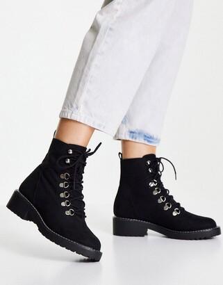 London Rebel chunky hiker boots in black