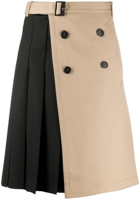 Neil Barrett Pleat-Detail Wrap-Effect Skirt