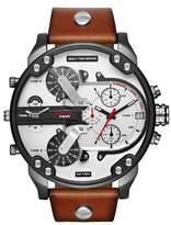 Diesel R) Mr. Daddy 2.0 Leather Strap Watch, 57mm