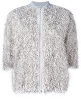 Brunello Cucinelli fringed bomber jacket - women - Silk/Cotton/Polyamide/Metallized Polyester - 38