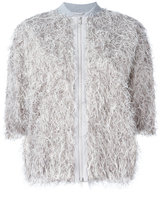 Brunello Cucinelli fringed bomber jacket - women - Silk/Cotton/Polyamide/Metallized Polyester - 42