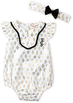 Juicy Couture Newborn/Infant Girls) Geometric Print Sunsuit & Headband Set