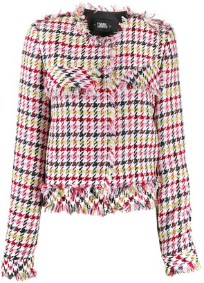 Karl Lagerfeld Paris Fitted Houndstooth Boucle Jacket