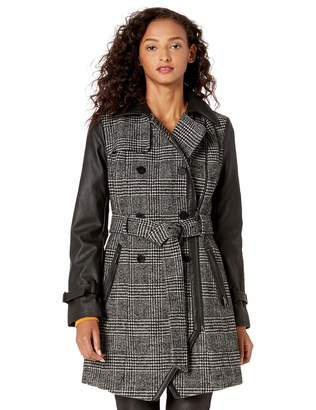 GUESS Women's Belted Plaid Wool and Faux Leather Coat