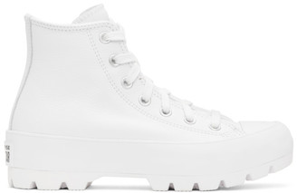 Converse White Leather Chuck Taylor All Star Lugged High Sneakers