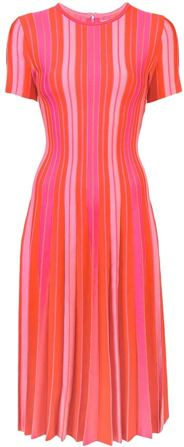 Carolina Herrera Pleated Striped Dress