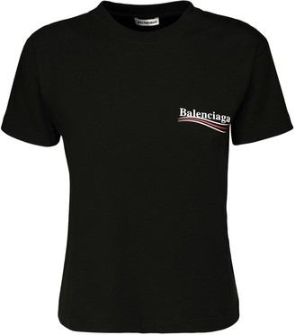 Balenciaga Fitted Political Logo Jersey T-shirt