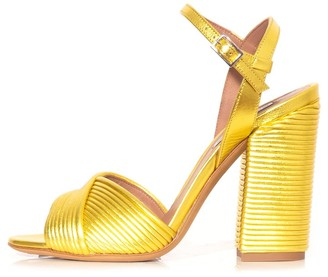 Tabitha Simmons Kali Sandal in Yellow Embroidered Python