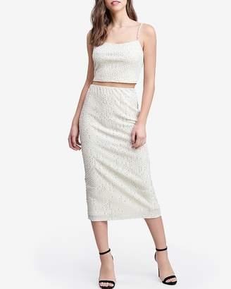 Express Emory Park Sequin Pearl Midi Skirt
