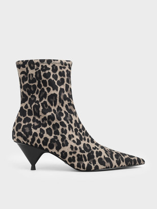 Charles & Keith Leopard Print Ankle Boots