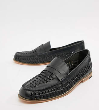 Frank Wright Wide Fit Woven Loafers In black Leather-Navy