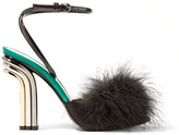 Marco De Vincenzo Feather-embellished Satin And Patent-leather Sandals - Black