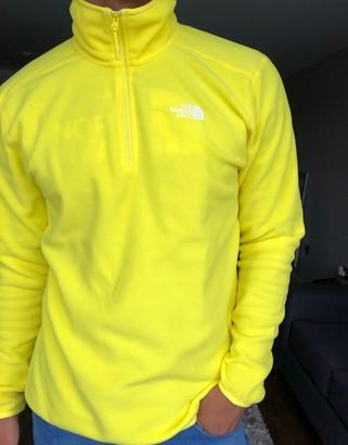 The North Face 100 Glacier 1/4 zip fleece in yellow