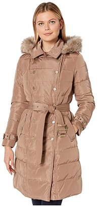 Lauren Ralph Lauren Horizontal Double Breasted Trench Faux Fur Trim (Vicuna) Women's Clothing