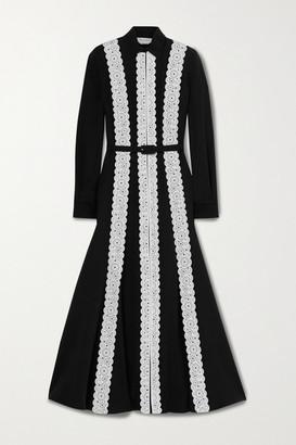Gabriela Hearst Kari Laser-cut Leather-trimmed Silk And Wool-blend Shirt Dress - Black