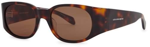 Alexander McQueen Tortroiseshell Oval-frame Sunglasses