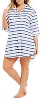 Dotti Plus Tulum Stripe 3/4 Roll Sleeve Button Up Coverup