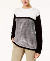 Karen Scott Textured Colorblocked Sweater, Created for Macy's