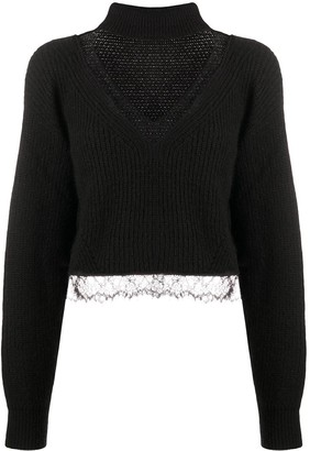 Brognano Lace Trim Ribbed Knit Jumper