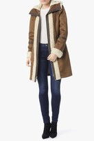 7 For All Mankind Zip Hooded Shearling Suede Jacket In Cognac