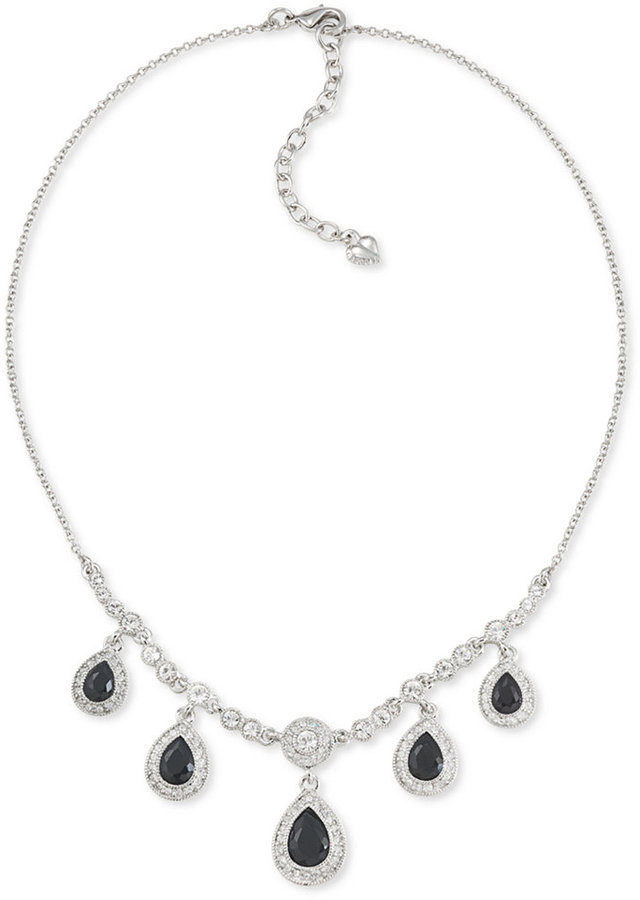 Carolee Necklace, Silver-Tone Glass Stone Frontal Pear Drop Necklace