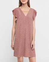 Express Dotted Ruffle Sleeve Shift Dress